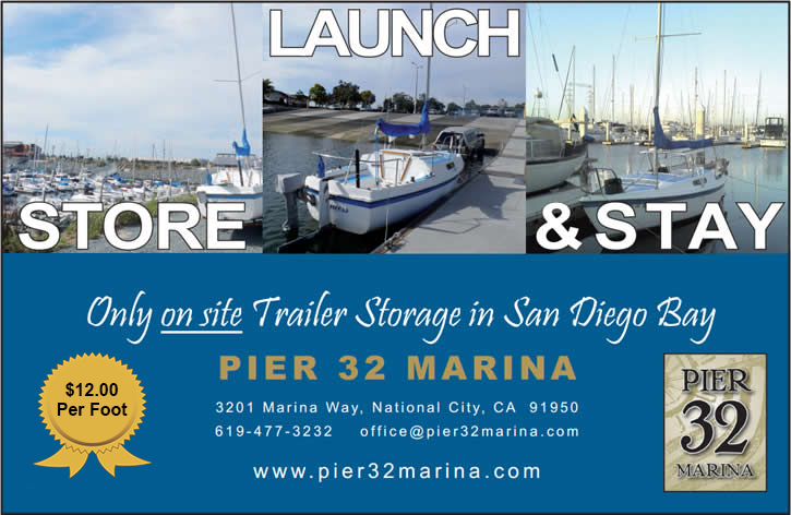 Pier 32 Marina offers the only on-site trailer storage in San Diego costing only $12 per foot.